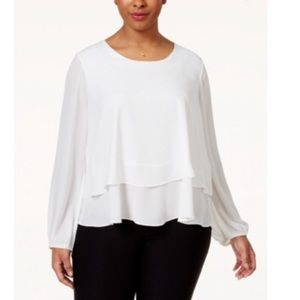 ING Off White Plus Size Printed Tiered Top NWT